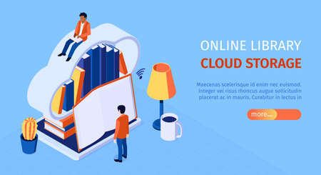 Online library landing page isometric horizontal web banner with user reading on cloud virtual bookshelf storage vector illustration 向量圖像