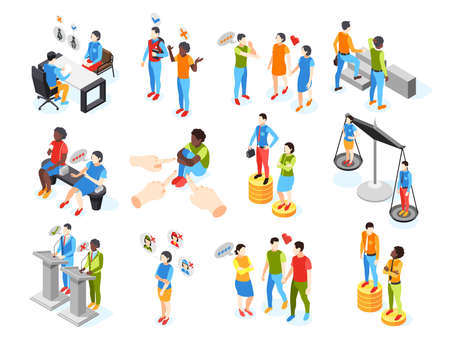 Discrimination isometric recolor set of isolated icons with human characters in various work and life situations vector illustration