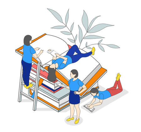 Reading people isometric composition with stack of closed and open books with small reading human characters vector illustration