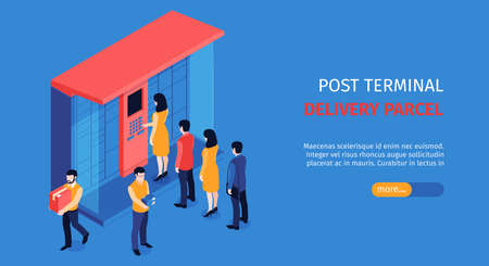 Isometric post terminal horizontal banner with editable text slider more button and people standing in line vector illustration