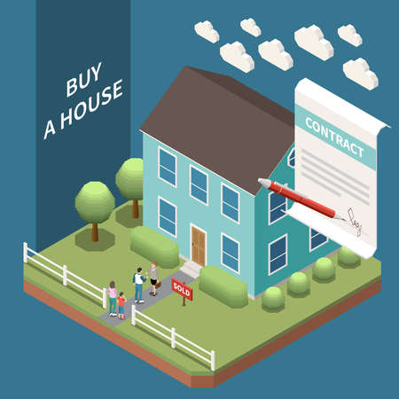 Real estate agency isometric composition with outdoor view of house for sale with clients and contract vector illustration