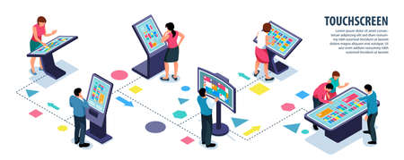 Isometric interactive users touchscreen infographics with human characters touching big screens with geometric figures and text vector illustration