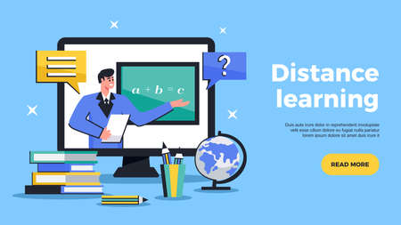 Distance learning flat web banner advertising online education tutoring with sharing computer screen horizontal vector illustration 向量圖像