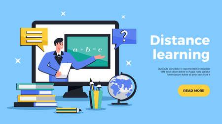 Distance learning flat web banner advertising online education tutoring with sharing computer screen horizontal vector illustration 版權商用圖片 - 157652018