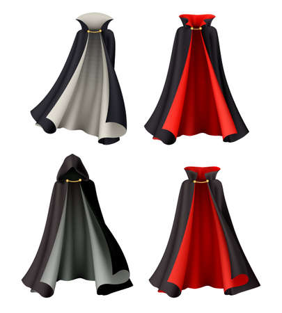 Halloween witch vampire cloak set with realistic images of magic gowns festive costumes on blank background vector illustration Vettoriali