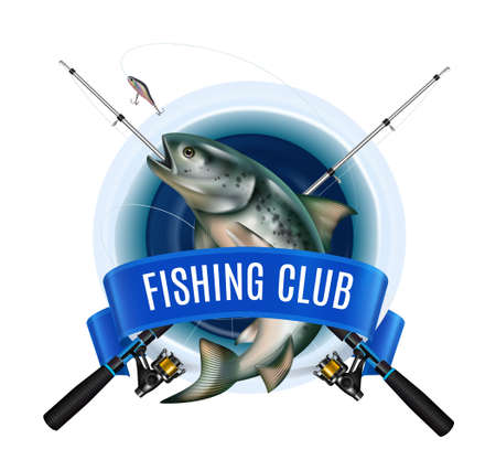 Winter fishing equipment emblem with realistic image of fish and crossed rods with ribbon and text vector illustration