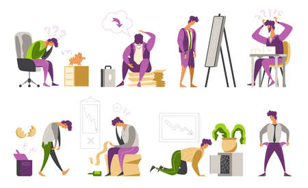 Depressed loser businessman with empty pockets flat icons set isolated vector illustration Illustration
