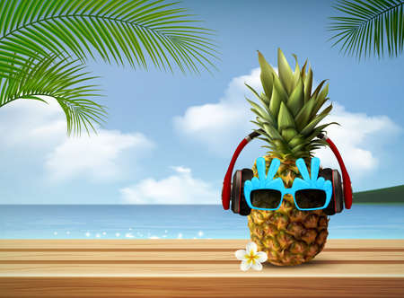 Sunglasses realistic summer composition with tropical landscape background sea and palm leaves with pineapple in glasses vector illustration
