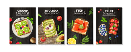 Bread slices with vegetables fish avocado and berries served on wooden table realistic poster set isolated vector illustration Çizim