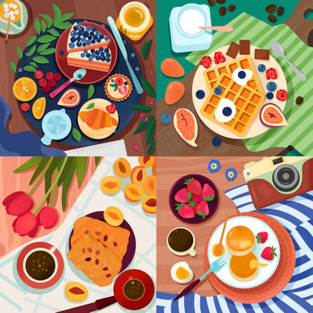 Coloring food 2x2 design concept with top view of tables served with different baked goods fruits and berries vector illustration