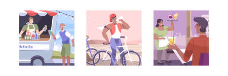 Three squares isolated and flat cool drink icon set with food and drinks truck quenching thirst cyclist  and cocktail in the bar vector illustration