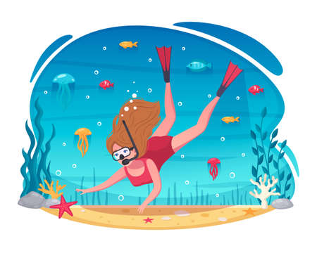Snorkeling diving holidays cartoon underwater composition with woman in mask snorkel fins reaching for starfish vector illustration Ilustrace