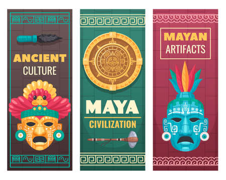 Maya civilization ancient culture textile stone artifacts museum exhibit advertisement announcement 3 cartoon ornamental banners vector illustration