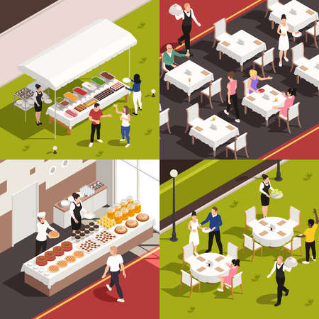 Catering service concept 4 isometric compositions with banquette buffet corporate lunch outdoor wedding celebration isolated vector illustration
