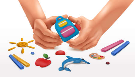 Plasticine modeling clay school composition with colourful sticks in human hands surrounded by ready handicrafts images vector illustration