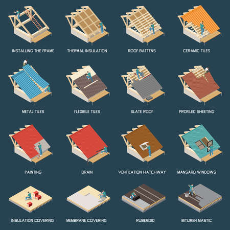 Roofing construction process materials isometric set with frame installation thermal insulation ceramic metal flexible tiles vector illustration
