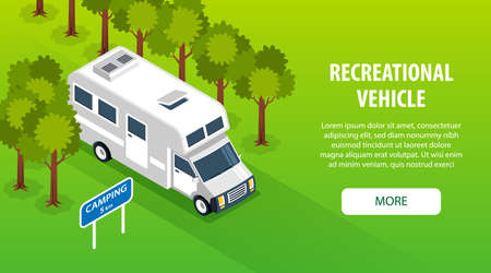 Isometric family trip horizontal banner with outdoor suburban road camper van with clickable button and text vector illustration Ilustração