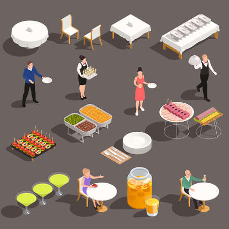 Events celebrations catering service isometric set with white table linens cocktails snacks buffet beverages cutlery vector illustration