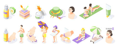 Sunscreen isometric recolor set of isolated sun protection products sunburn creams and people on blank background vector illustration