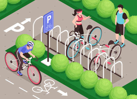 Isometric bicycle parking composition with outdoor scenery bike path human characters and rack for parking bicycles vector illustration