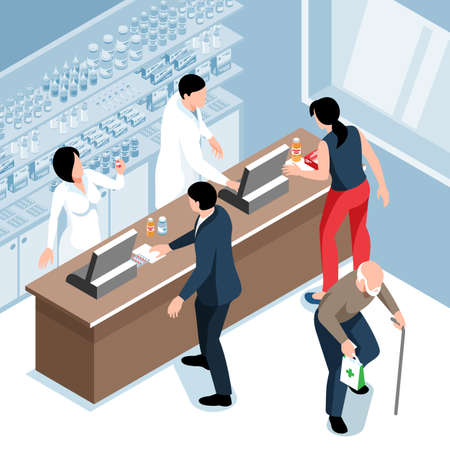 Isometric pharmacy composition with indoor view of apothecary store with pharmacists at counter and buyers visitors vector illustration