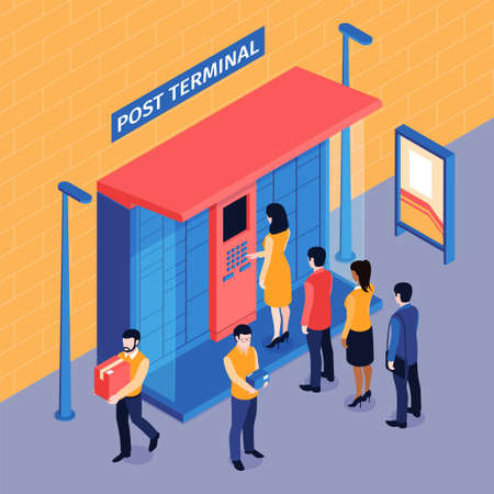 Isometric post terminal queue composition with outdoor view of people standing in line to automated locker vector illustration 矢量图像