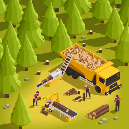 Sawmill and wood working process in forest 3d isometric vector illustration