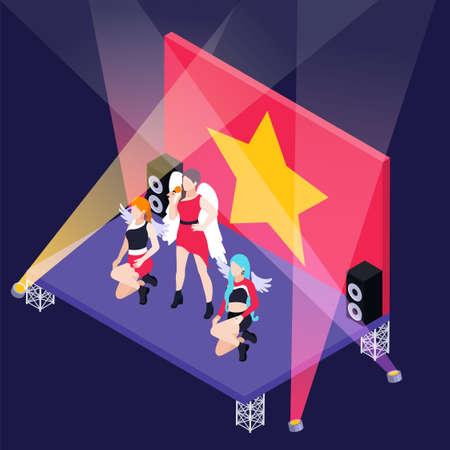 K pop group consisting of three girls on stage with spotlights and gold star on red background isometric vector illustration