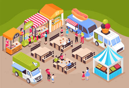 Isometric food courts fair composition with view of fairground with tables seats market stalls and vans vector illustration