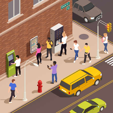 Men and women using information board atm coffee kiosk with interactive interface on sidewalk 3d isometric vector illustration
