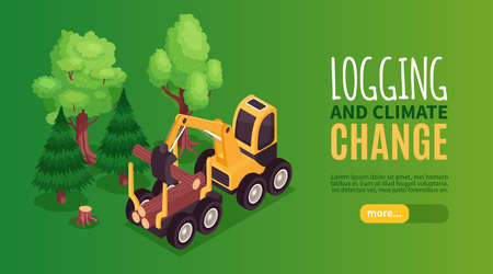 Isometric wooden furniture production horizontal banner with button text and image of bulldozer loading tree trunks vector illustration Vectores