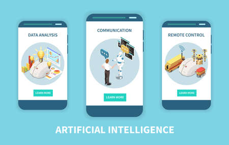 Artificial intelligence set of isometric vertical banners with data analysis and remote control images with buttons vector illustration Ilustracja
