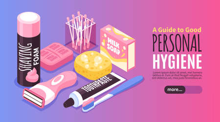Personal family hygiene banner with milk soap and foam isometric vector illustration Vettoriali