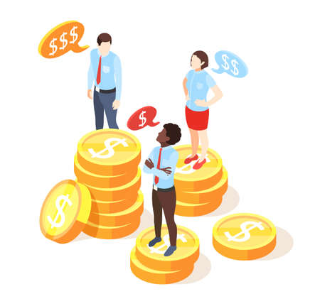 Discrimination isometric composition with human characters standing on stacks of dollar coins representing gaps in salaries vector illustration