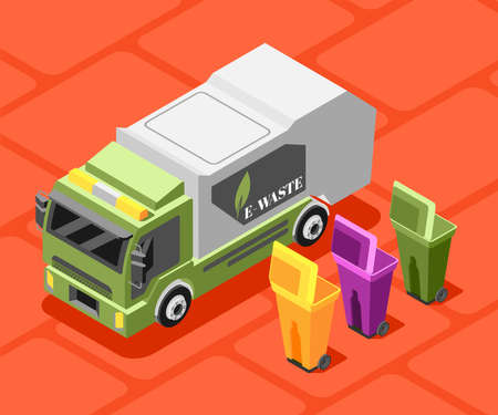 Electronic garbage isometric background composition with images of e-waste labeled truck and colourful waste bins vector illustration Vektorgrafik
