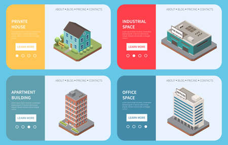 Real estate agency isometric set of horizontal banners with building images text and learn more button vector illustration 矢量图像