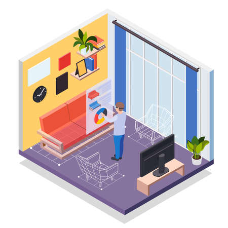 Augmented reality furniture isometric concept with man in vr headset simulating his presence in virtual living room vector illustration
