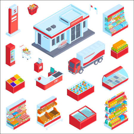 Isometric supermarket set with isolated display icons shelves with food products fridges and shopping cart images vector illustration 矢量图像