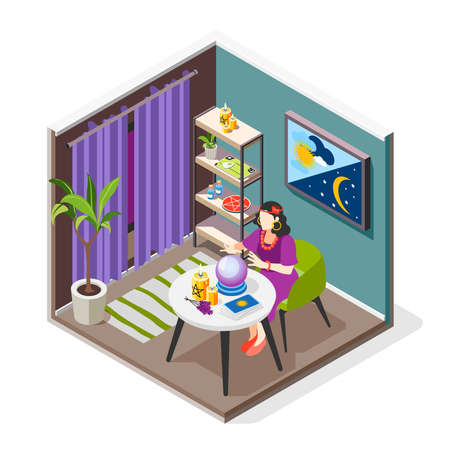Magical services isometric background composition with indoor view of fortunetelling room with character of fortune teller vector illustration  イラスト・ベクター素材