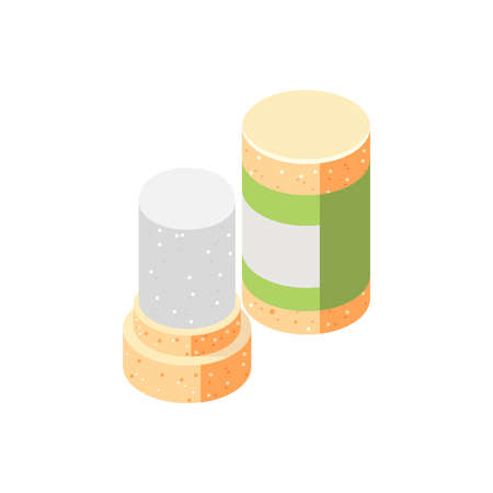Zero waste isometric composition with icons of special plugs jars on blank background vector illustration