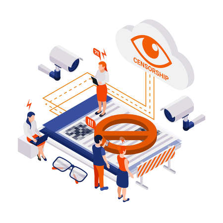 Internet censorship blocking isometric composition with pictogram icons surveillance cameras people and cloud with eye sign vector illustration