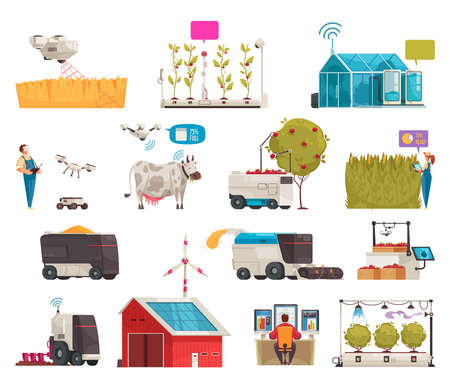 Smart farm set with isolated icons of plants with robots people farm buildings and power supplies vector illustration  イラスト・ベクター素材