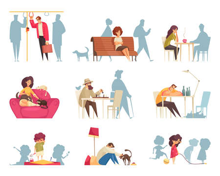 Cartoon set of compositions with lonely people and children crying drinking alcohol sitting with cats isolated vector illustration 矢量图像
