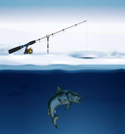 Winter fishing composition with realistic image of fish under ice with fishing tackle fixed on surface vector illustration 矢量图像