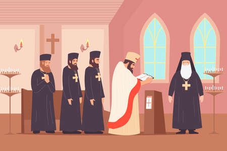 Christianity religion flat composition with indoor scenery of chapel with clerical order characters preaching a sermon vector illustration