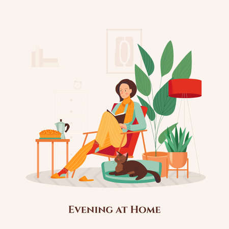 Woman in armchair spending evening with cat and book at her cozy home flat vector illustration Çizim