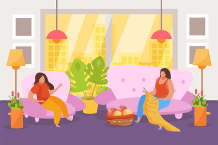 Hobby flat people composition with living room interior scenery with cityscape and knitting women on sofa vector illustration Illusztráció