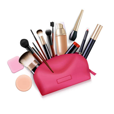 Bag with cosmetics realistic composition with top view of pink toiletry case with applicator brushes eyeliners vector illustration