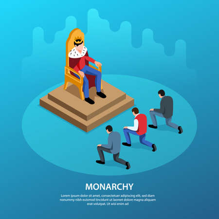 Isometric political systems square background with editable text and king on throne with people kneeling down vector illustration Illustration
