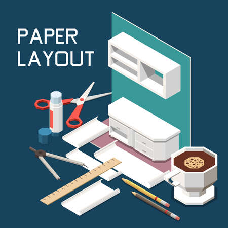 Carpentry furniture production isometric composition with kitchen cabinets design 3d paper layout scissors ruler coffee vector illustration